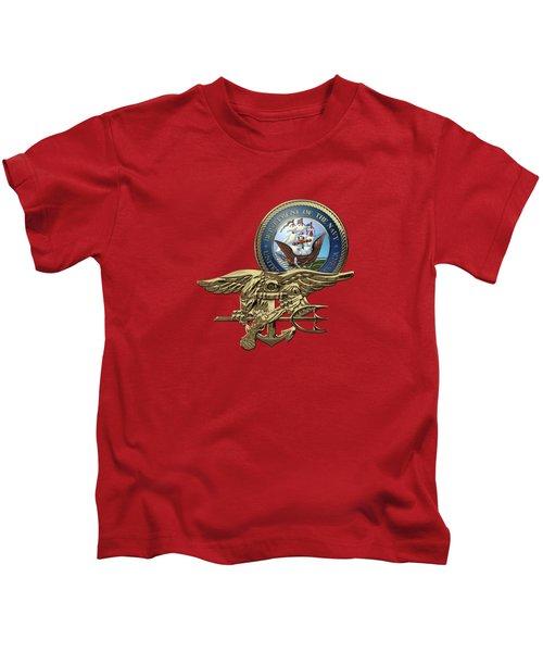 U. S. Navy S E A Ls Trident Over Red Velvet Kids T-Shirt