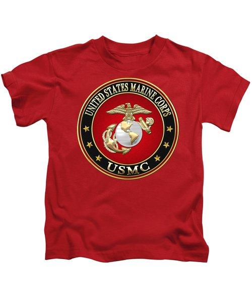 U S M C Eagle Globe And Anchor - E G A On Red Velvet Kids T-Shirt