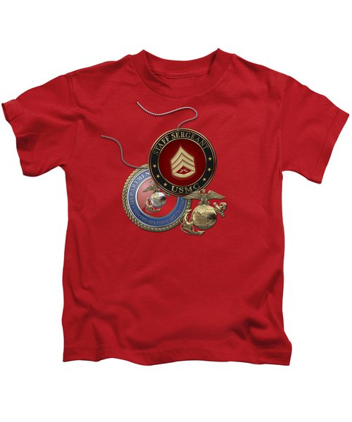 U. S. Marines Staff Sergeant Rank Insignia Over Red Velvet Kids T-Shirt