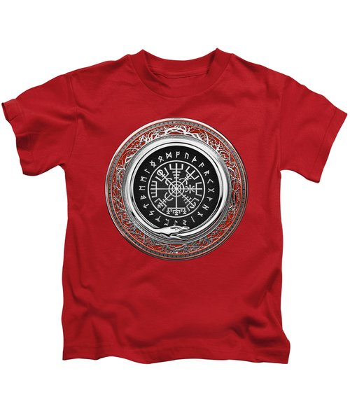Vegvisir - A Silver Magic Viking Runic Compass On Red Leather  Kids T-Shirt