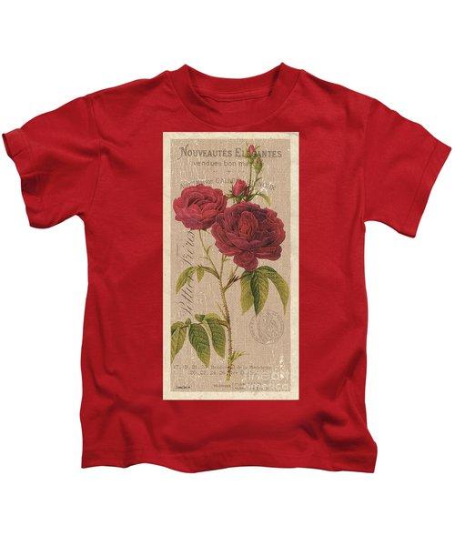 Vintage Burlap Floral 3 Kids T-Shirt