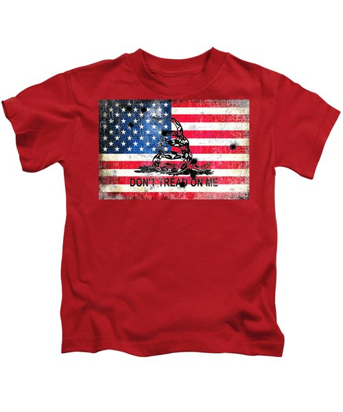 Viper N Bullet Holes On Old Glory Kids T-Shirt