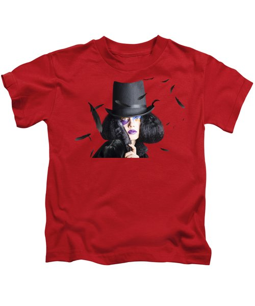 Vogue Woman In Black Costume Kids T-Shirt