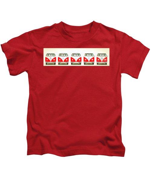 Retro Bus Line Up Painting Kids T-Shirt