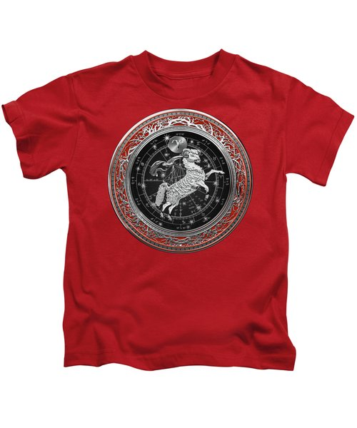 Western Zodiac - Silver Aries -the Ram On Red Velvet Kids T-Shirt