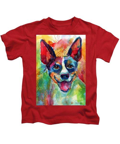 Whimsical Rat Terrier Dog Painting Kids T-Shirt