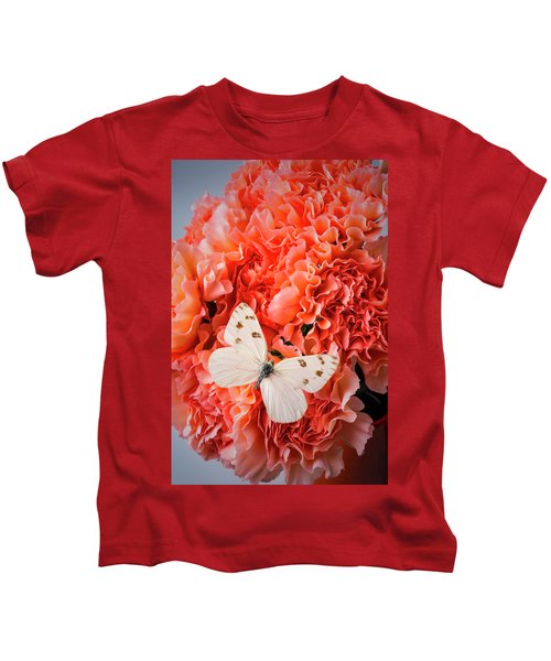 White Butterfly On Pink Carnations Kids T-Shirt