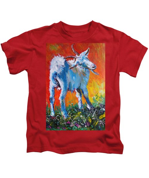 White Goat Painting - Scratching My Back Kids T-Shirt