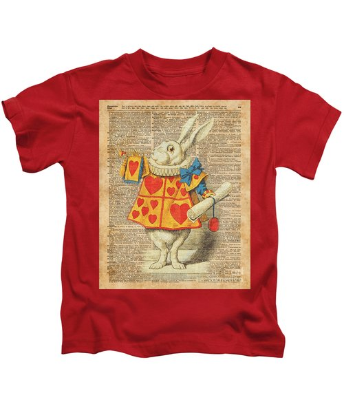 White Rabbit With Trumpet Alice In Wonderland Vintage Dictionary Artwork Kids T-Shirt