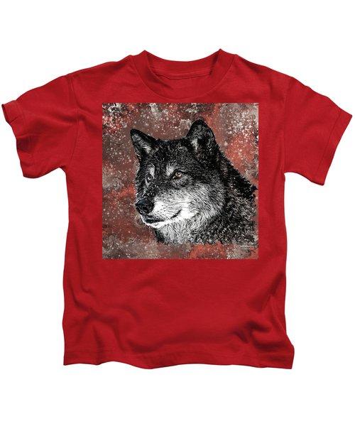Wild Dark Wolf Kids T-Shirt