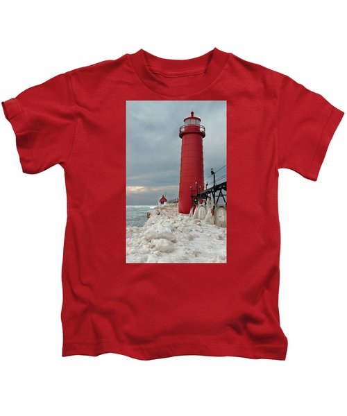 Winter At Grand Haven Lighthouse Kids T-Shirt