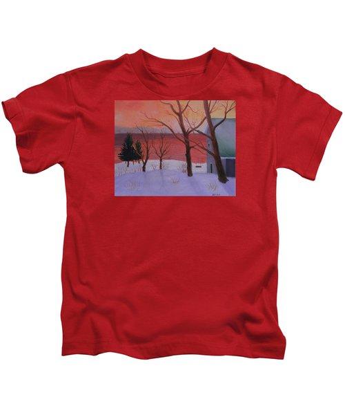 Winter Ocean Sunrise Kids T-Shirt