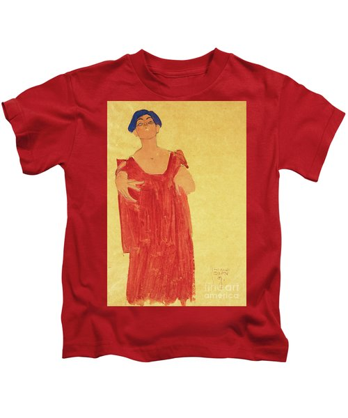 Woman With Blue Hair Kids T-Shirt