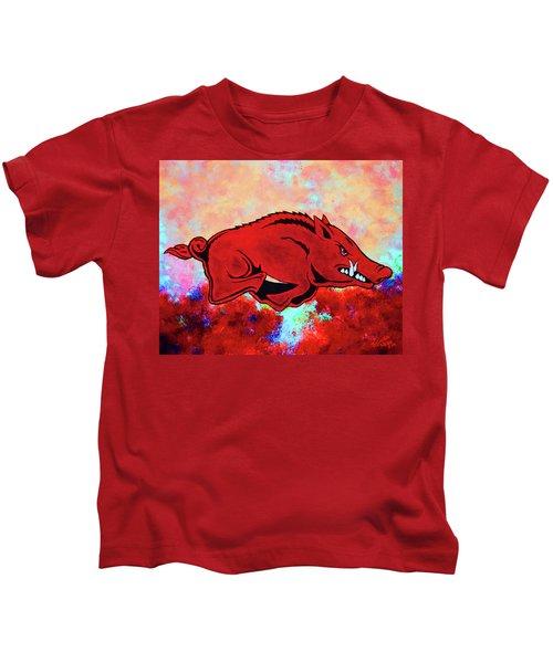 Woo Pig Sooie 3 Kids T-Shirt by Belinda Nagy