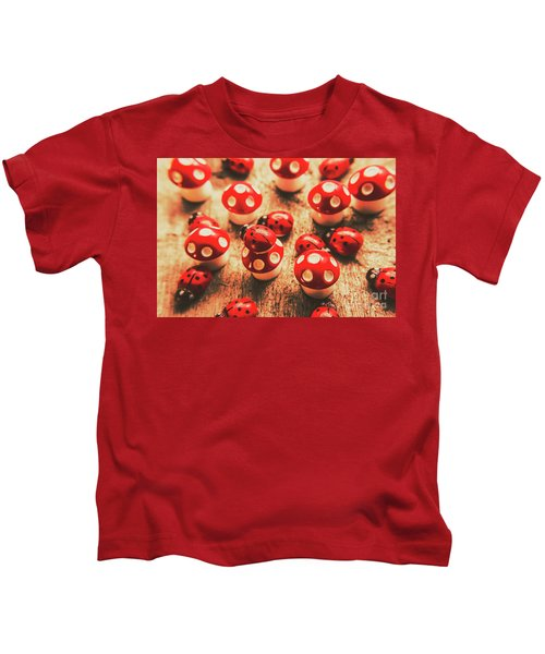 Wooden Bugs And Plastic Toadstools Kids T-Shirt