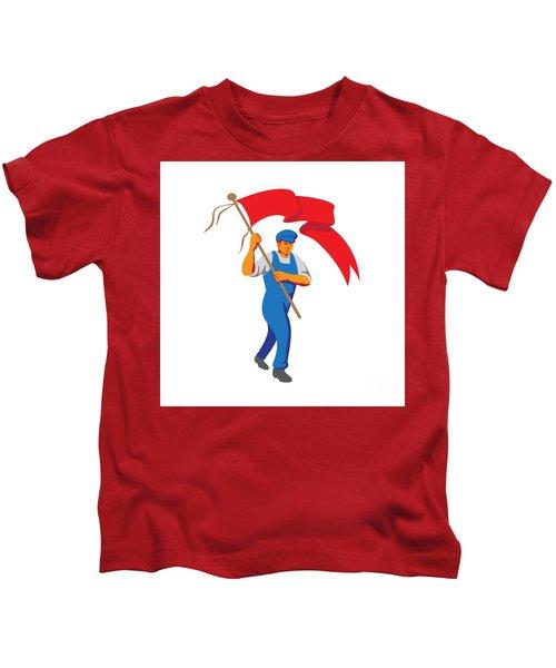 Worker Marching Flag Bearer Wpa Kids T-Shirt