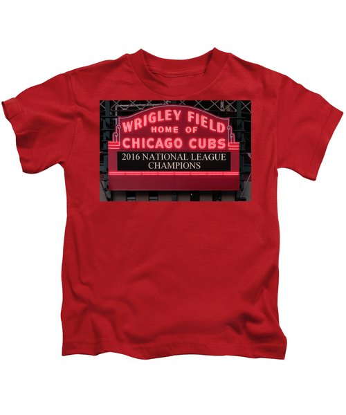 Wrigley Field Marquee Cubs Champs 2016 Front Kids T-Shirt by Steve Gadomski