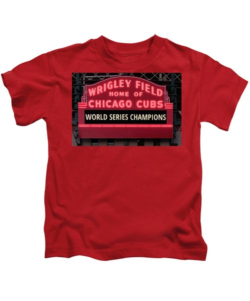 Wrigley Field Marquee Cubs World Series Champs 2016 Front Kids T-Shirt by Steve Gadomski