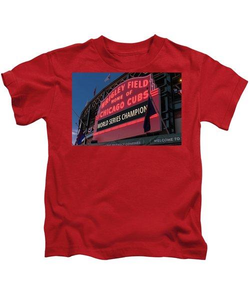 Wrigley Field World Series Marquee Kids T-Shirt by Steve Gadomski