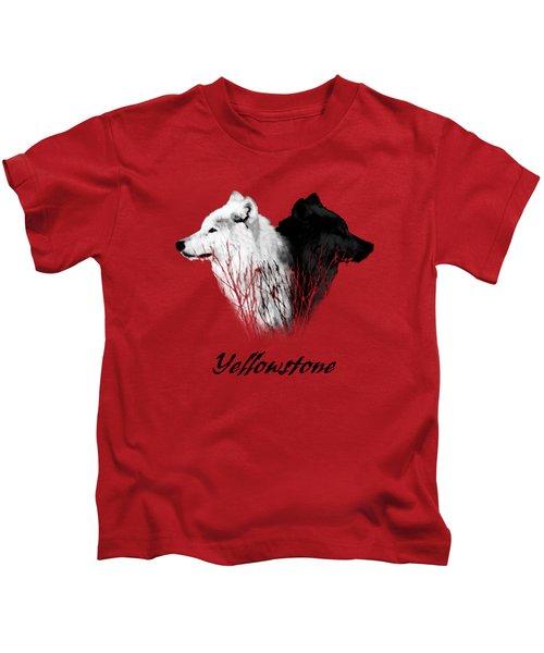 Yellowstone Wolves T-shirt Kids T-Shirt by Max Waugh