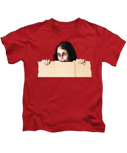 Zombie Woman Peering Out Cardboard Box Kids T-Shirt