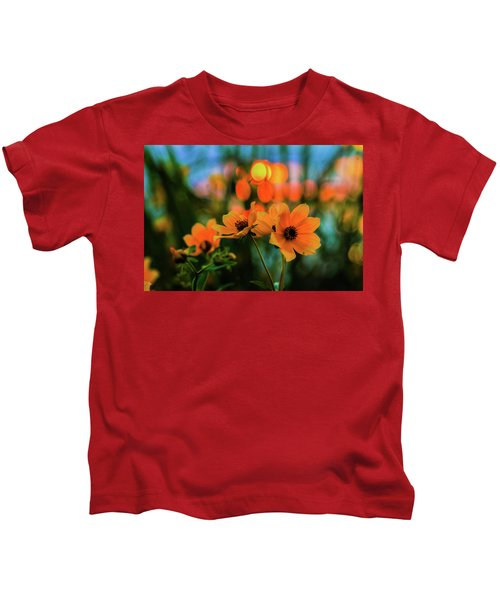 Sunflower Bokeh Sunset Kids T-Shirt