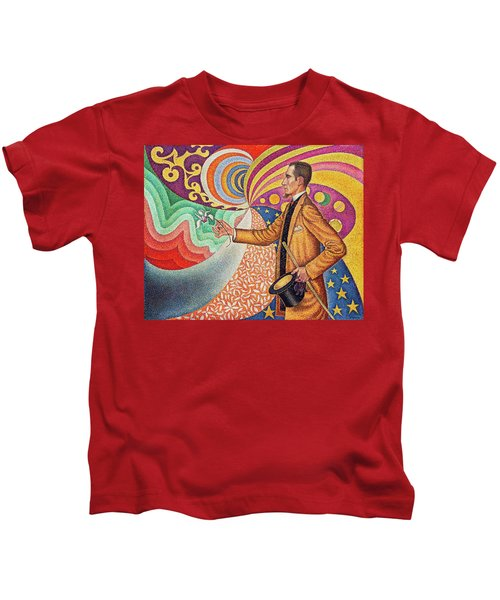 Against The Enamel Of A Background Rhythmic With Beats And Angles, Tones, And Tints Kids T-Shirt