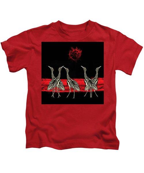 Zebra Australian Bustards Red Sun Kids T-Shirt