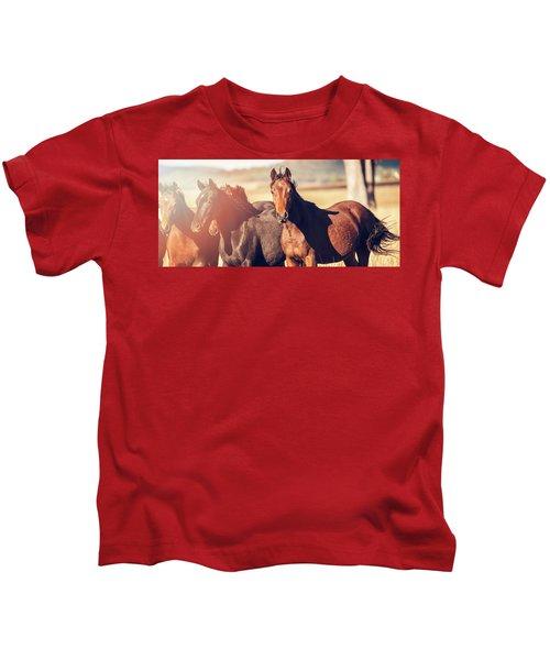 Australian Horses In The Paddock Kids T-Shirt