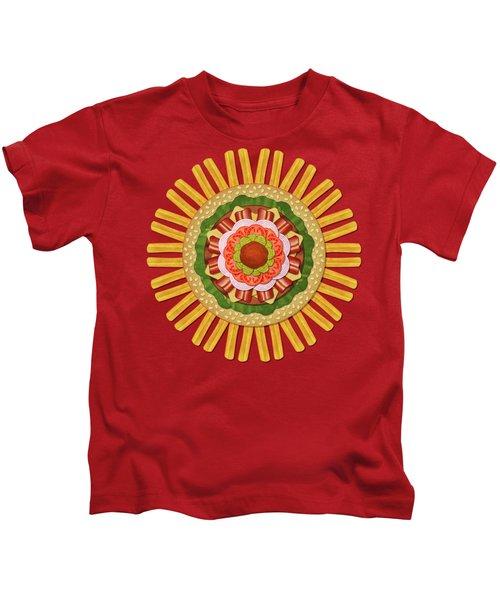 Bacon Cheeseburger With Fries Mandala Kids T-Shirt