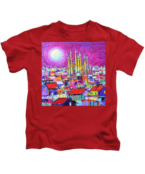 Barcelona Mystic Full Moon Over Sagrada Familia Abstract Cityscape Knife Painting Ana Maria Edulescu Kids T-Shirt