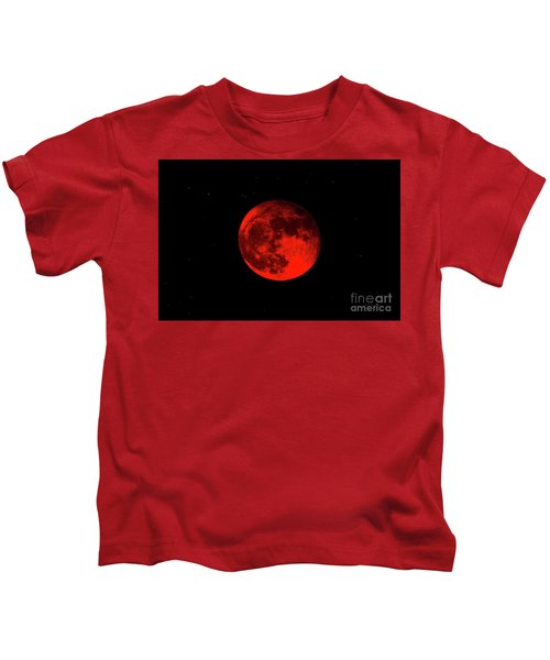 Blood Red Wolf Supermoon Eclipse 873a Kids T-Shirt