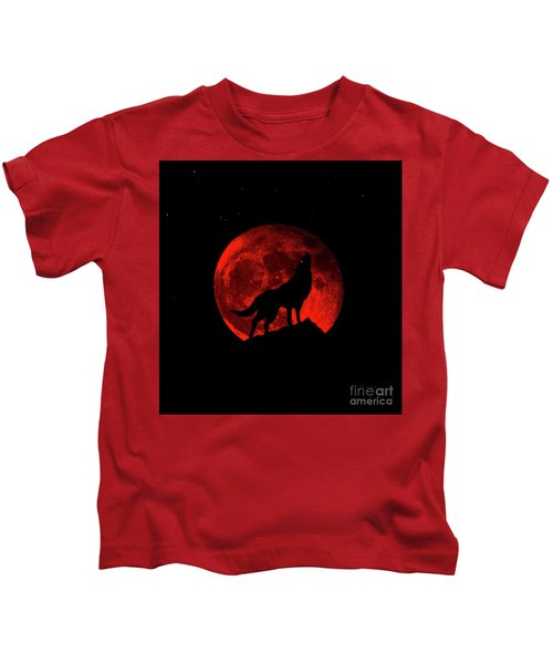 Blood Red Wolf Supermoon Eclipse 873l Kids T-Shirt