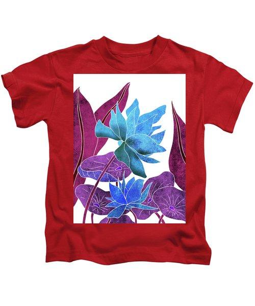 Blue Lotus Flower - Botanical, Floral, Tropical Art - Modern, Minimal Decor - Blue, Purple, Indigo Kids T-Shirt