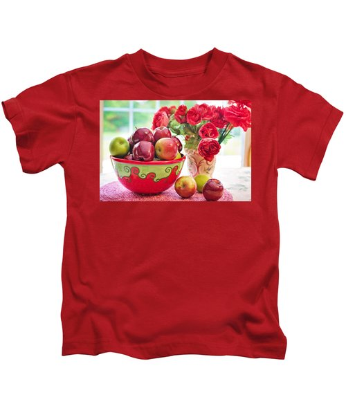 Bowl Of Red Apples Kids T-Shirt