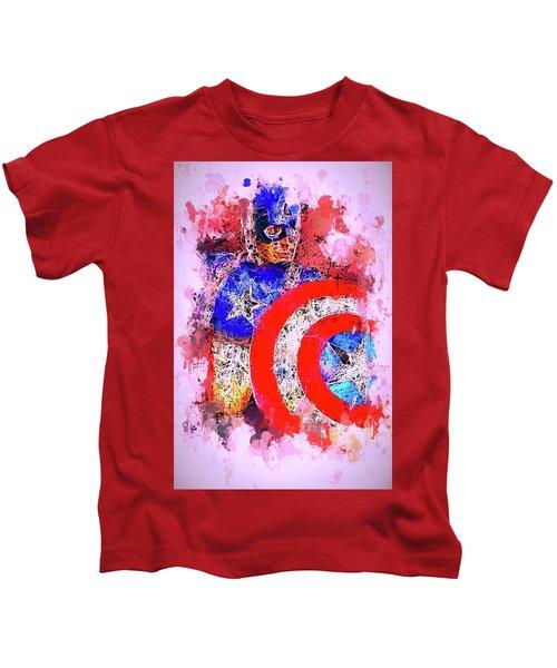 Captain America Watercolor Kids T-Shirt