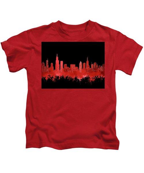 Chicago Skyline Watercolor 5 Kids T-Shirt