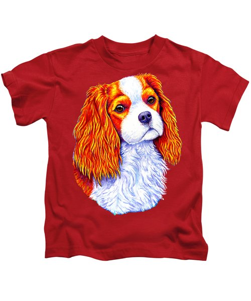 Colorful Cavalier King Charles Spaniel Dog Kids T-Shirt