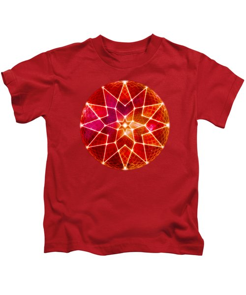 Cosmic Geometric Seed Of Life Crystal Red Lotus Star Mandala Kids T-Shirt