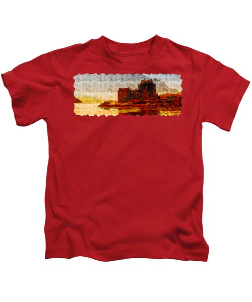 Countryside Watercolor Drawing  -  Castle Of The Lake Kids T-Shirt