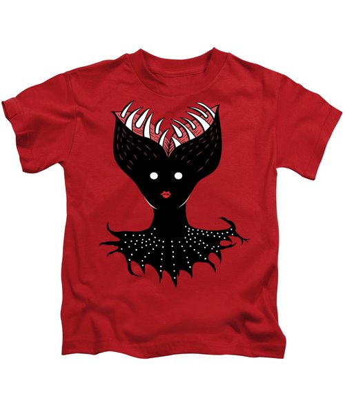 Creepy Demon Girl Has Opened Head With Teeth Kids T-Shirt