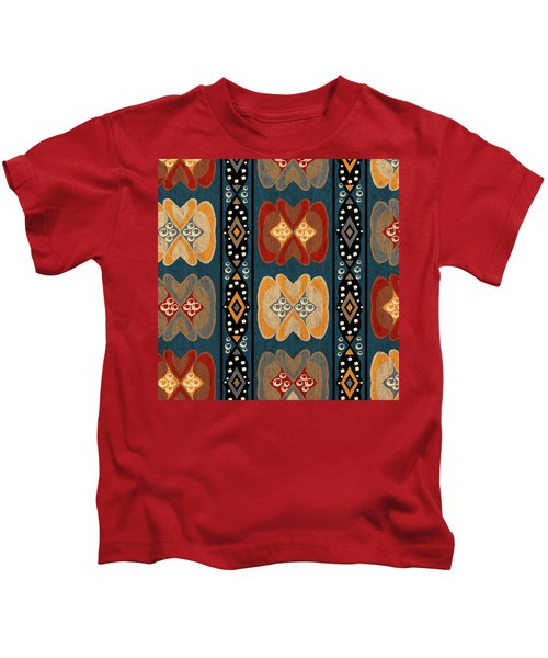 East African Heart And Diamond Stripe Pattern Kids T-Shirt