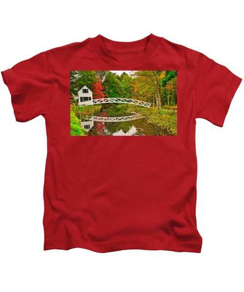 Fall Footbridge Reflection Kids T-Shirt