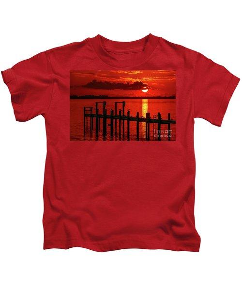 Fireball And Pier Sunrise Kids T-Shirt