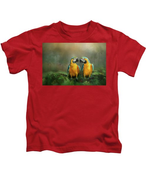 Gold And Blue Macaw Pair Kids T-Shirt