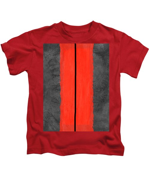Grey And Red Abstract V Kids T-Shirt