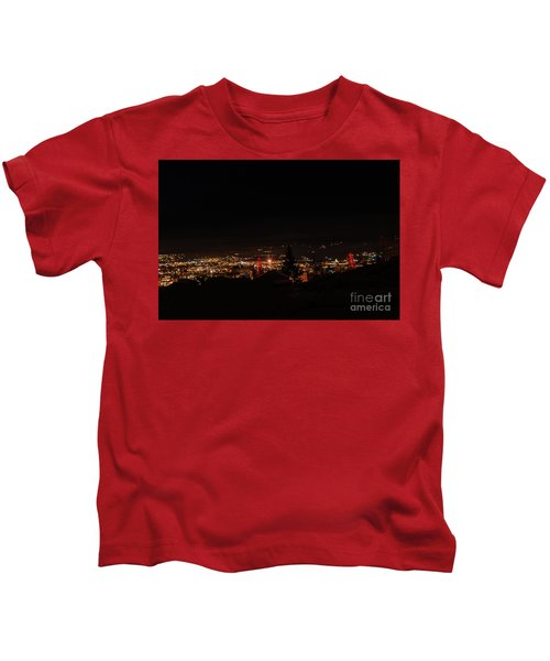 Headframes Outlined In Red Lights Kids T-Shirt