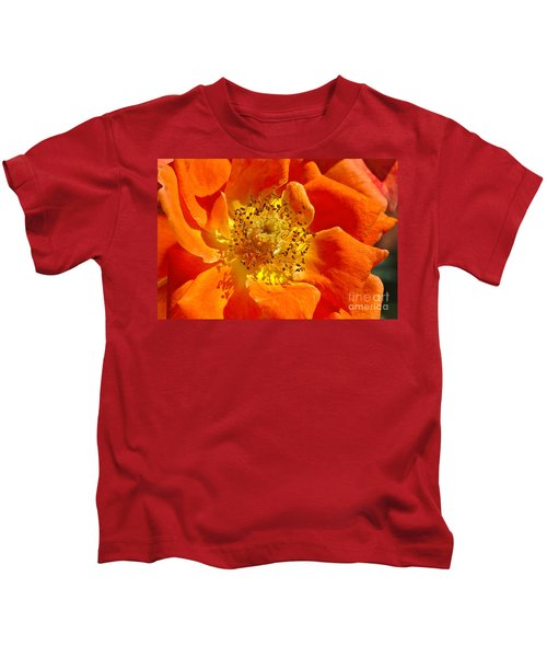 Heart Of The Orange Rose Kids T-Shirt