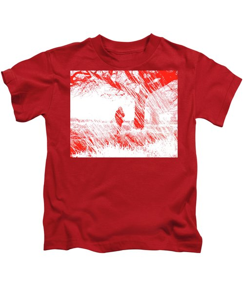 Icy Shards Fall On Setttled Snow Kids T-Shirt