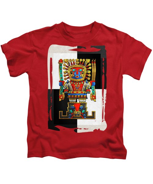 Incan Gods - The Great Creator Viracocha On Black And White Kids T-Shirt